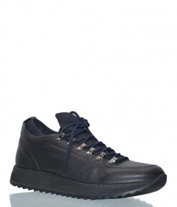 Мужские кожаные кроссовки Luca Guerrini 9806 черные