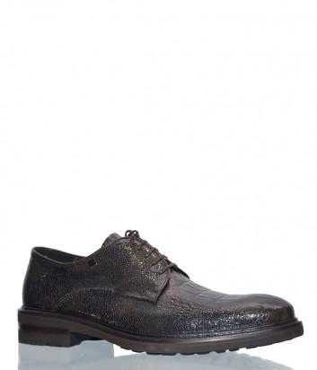 Мужские туфли Mario Bruni 55987 в текстурной коже коричневые