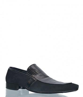 Замшевые туфли Mario Bruni 46388 с кожаными вставками черные