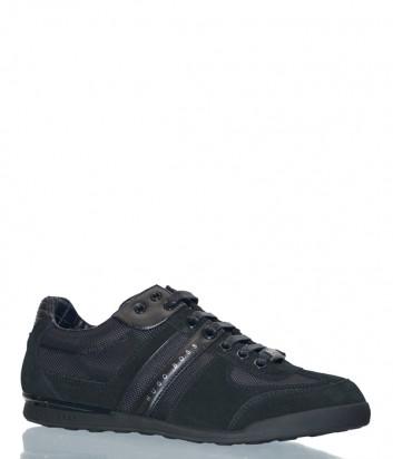Замшевые кроссовки Hugo Boss черные