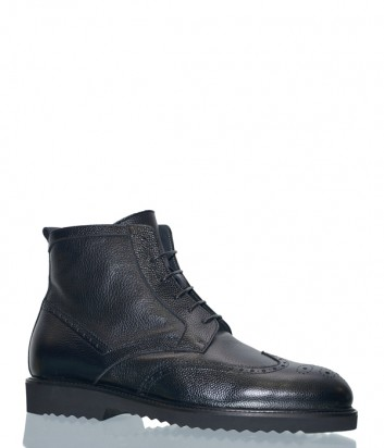 Черные кожаные ботинки CAF 7072 на меху
