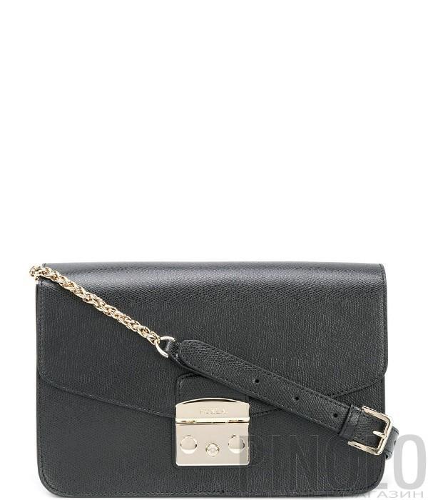 0e4963526ca0 Кожаная сумка Furla Metropolis 972392 на цепочке черная - купить в ...