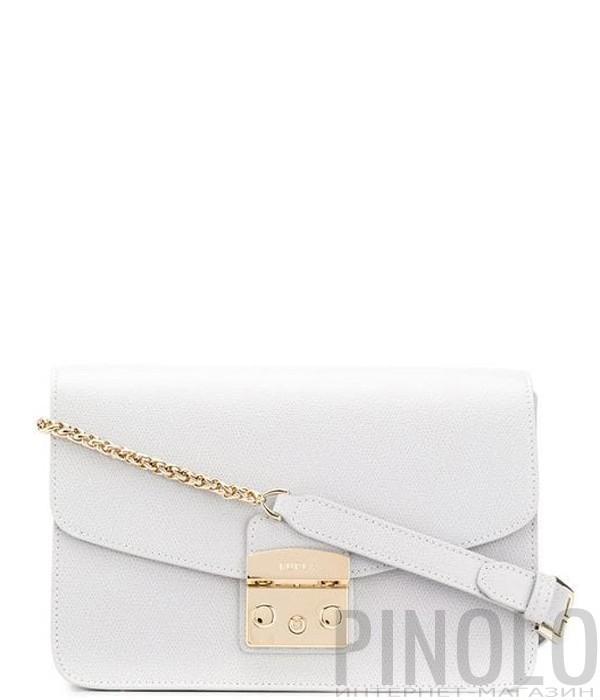082776608020 Кожаная сумка Furla Metropolis 993680 на цепочке белая - купить в ...