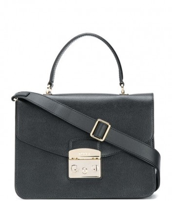 Кожаная сумка Furla Metropolis 903883 с откидным клапаном черная