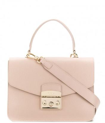 Кожаная сумка Furla Metropolis 993780 с откидным клапаном бежевая