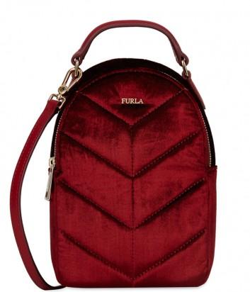 Бархатный рюкзак Furla Fortuna 992985 бордовый