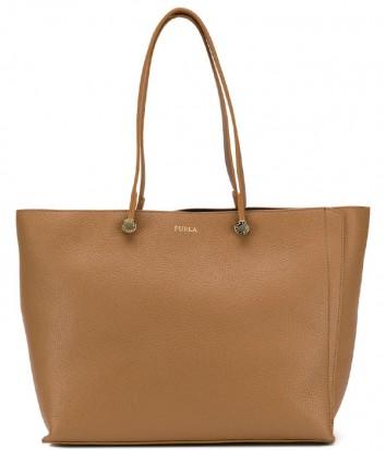 Большая кожаная сумка Furla Eden 1000211 карамельная