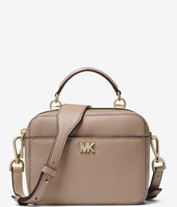 Кожаная сумка Michael Kors Mott Mini с широким плечевым ремнем бежевая