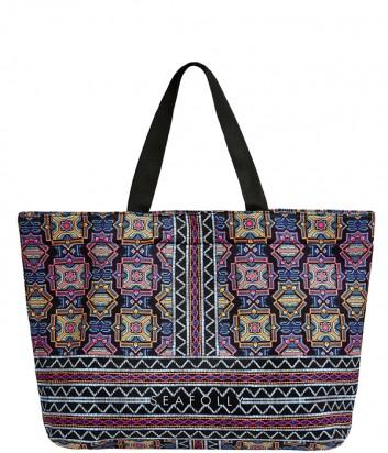 Вместительная пляжная сумка Seafolly 71396-BG черная с ярким принтом