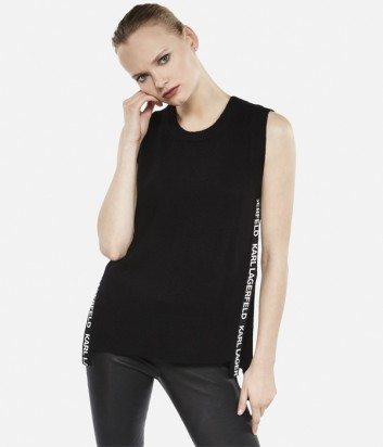 Черный кашемировый топ Karl Lagerfeld без рукавов