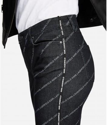 Джинсы прямого кроя Karl Lagerfeld серые с надписями