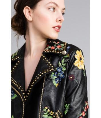 Черная байкерская куртка TWIN-SET PA82АU с яркой цветочной вышивкой