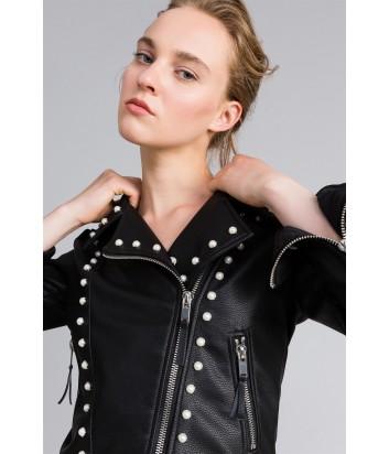 Черная байкерская куртка TWIN-SET PA82АА декорированная жемчужинами
