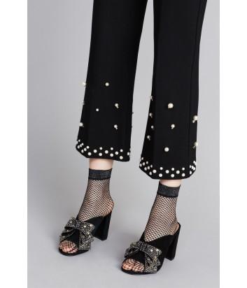 Черные укороченные брюки TWIN-SET PA82BC декорированные жемчужинами