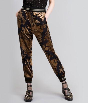 Бархатные брюки TWIN-SET PA82М2 черные с золотым принтом