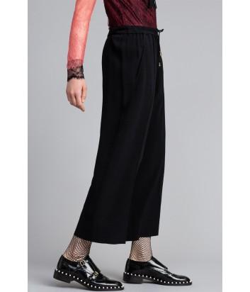 Черные укороченные брюки TWIN-SET PA822Р с резинкой и кулиской на талии