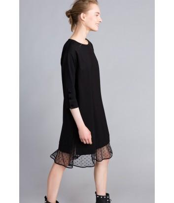 Черное платье TWIN-SET PA82BP со съемной комбинацией в горох