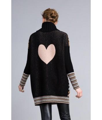 Удлиненный свитер TWIN-SET PA837Р с принтом в виде сердечек