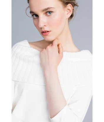 Джемпер-блуза TWIN-SET PA8215 с мягким трикотажным воротом белый
