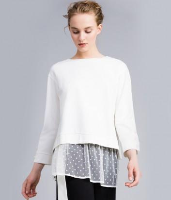 Белая блуза TWIN-SET PA82BN со съемным топом из тюля в горошек