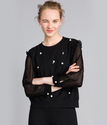 Черная кофта TWIN-SET PA82ВD декорированная жемчужинами