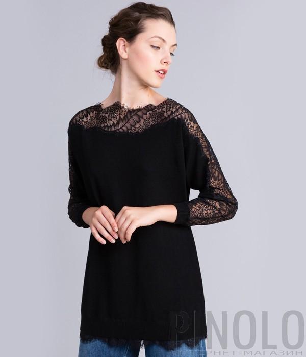 Удлиненная трикотажная блуза TWIN-SET PA83EP с кружевными вставками черная