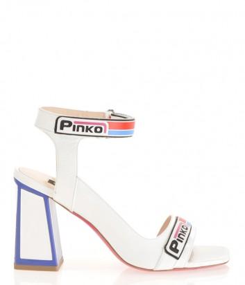 Белые кожаные босоножки PINKO 1H20L8 с цветными вставками и надписями