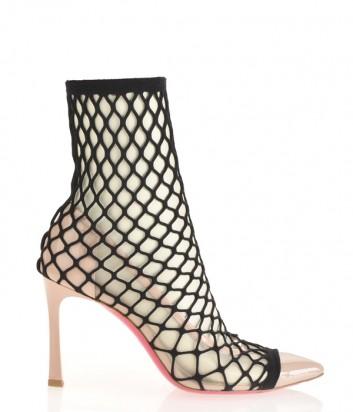 Нюдовые лаковые туфли PINKO 1H20LFY5B1 в черном чулке