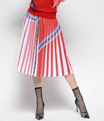 Коралловая юбка-плиссе PINKO 1G13YV с надписями