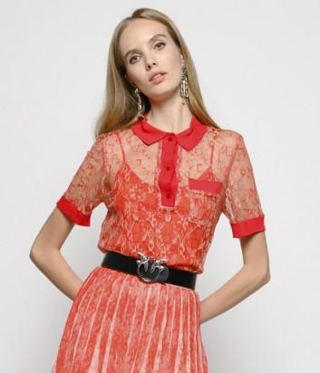 Коралловая блуза PINKO 1G13XR с коротким рукавом