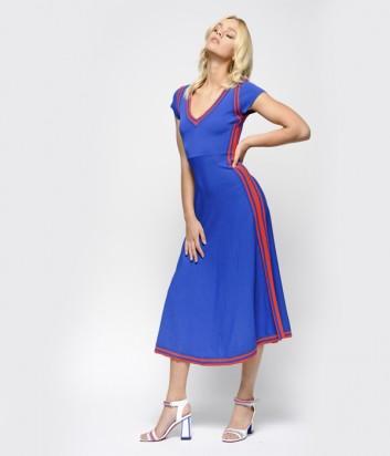 Синее платье PINKO 1G143X с коралловыми полосками