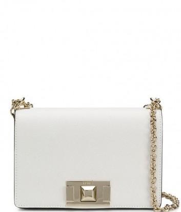 Кожаная сумочка на цепочке Furla Mimi 1008509 с откидным клапаном белая