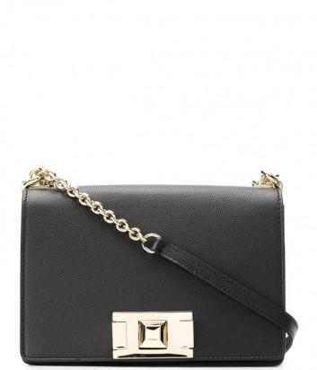 Кожаная сумочка на цепочке Furla Mimi 1000668 с откидным клапаном черная