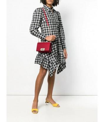 Кожаная сумочка на цепочке Furla Mimi 1000671 с откидным клапаном красная