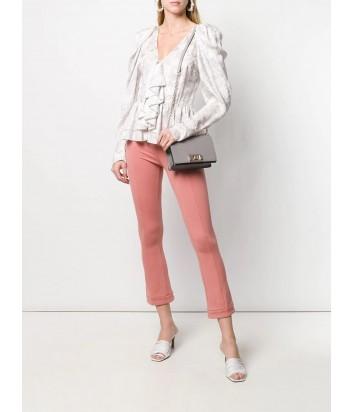 Кожаная сумочка на цепочке Furla Mimi 1000670 с откидным клапаном серая