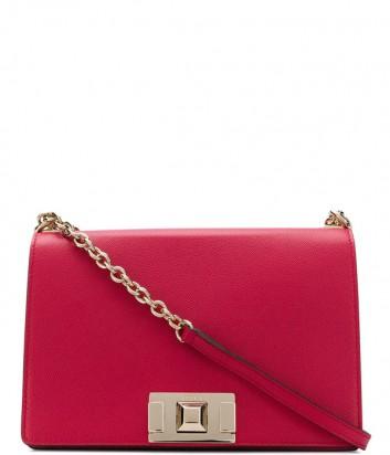 Кожаная сумка на цепочке Furla Mimi 1007401 с откидным клапаном красная