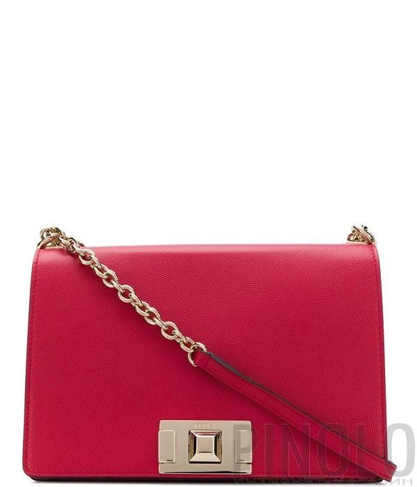 831fec6176a9 Кожаная сумка на цепочке Furla Mimi 1007401 с откидным клапаном красная