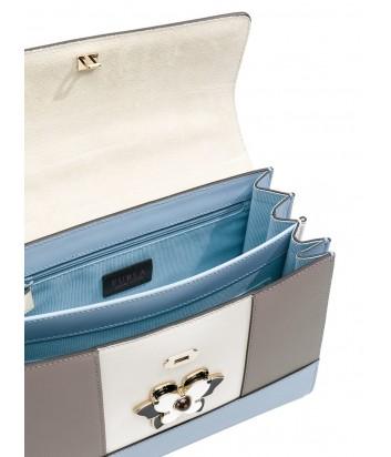Сумка сетчел Furla Mughetto 961632 в гладкой коже бежево-голубая