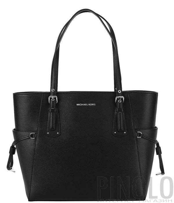 Черная кожаная сумка Michael Kors Voyager с серебристой фурнитурой