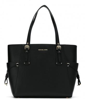 Черная кожаная сумка Michael Kors Voyager с золотой фурнитурой