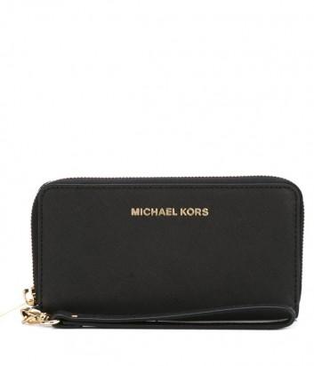 Черное кожаное портмоне Michael Kors Jet Set Travel с отделением для смартфона