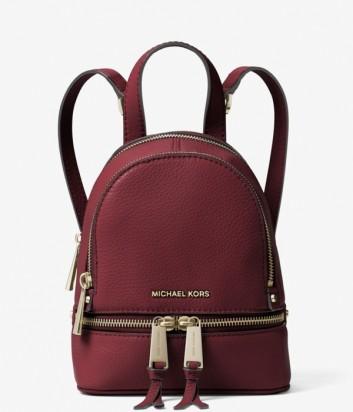 Кожаный рюкзак Michael Kors Rhea Mini бордовый