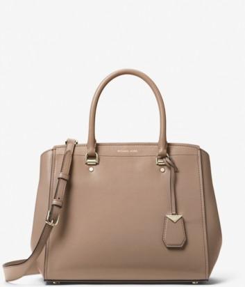 Вместительная сумка Michael Kors Benning в гладкой коже бежевая