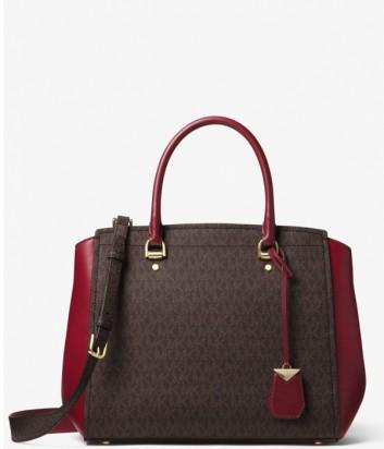 Вместительная сумка Michael Kors Benning с монограммой коричнево-бордовая