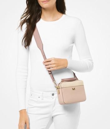 Кожаная сумка Michael Kors Mott Mini с широким плечевым ремнем пудровая