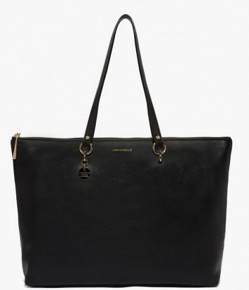 Вместительная кожаная сумка шоппер Coccinelle Alpha на молнии черная