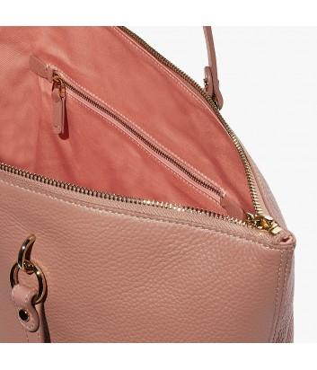Вместительная кожаная сумка шоппер Coccinelle Alpha на молнии розово-бежевая