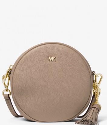 Маленькая кожаная сумка Michael Kors Canteen круглой формы бежевая