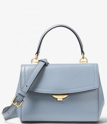 Кожаная сумочка Michael Kors Ava extra-small с короткой ручкой голубая