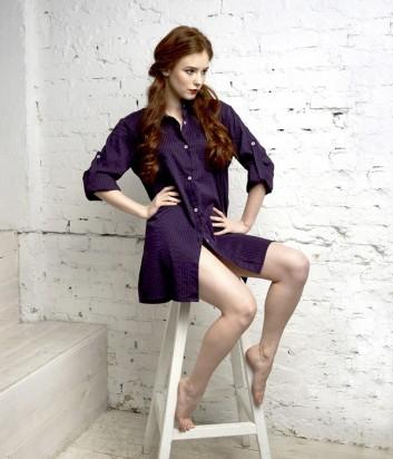 Рубашка-платье Effetto на пуговицах прямого кроя фиолетовая